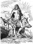 Il dio-cinghiale Gullinbursti assieme al dio norreno Freyr